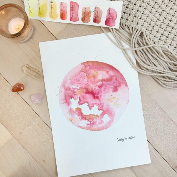 Rose doux aquarelle de lune